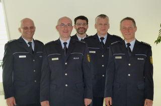 Von links: Hans J. Lauble (Leiter Polizeiposten Zell), Revierleiter Markus Huber, Johannes Maier (Leiter Bezirksdienst), Volker Mäntele (Leiter Polizeiposten Wolfach) sowie der stellvertretende Revierleiter Martin Ringwald.
