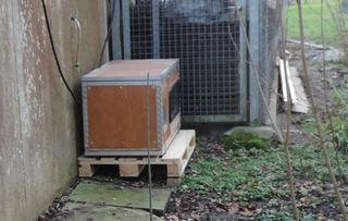 """Das ist eine von sechs Schlafboxen, wegen der Tierschützer aus ganz Deutschland aus dem """"Häuschen"""" waren."""
