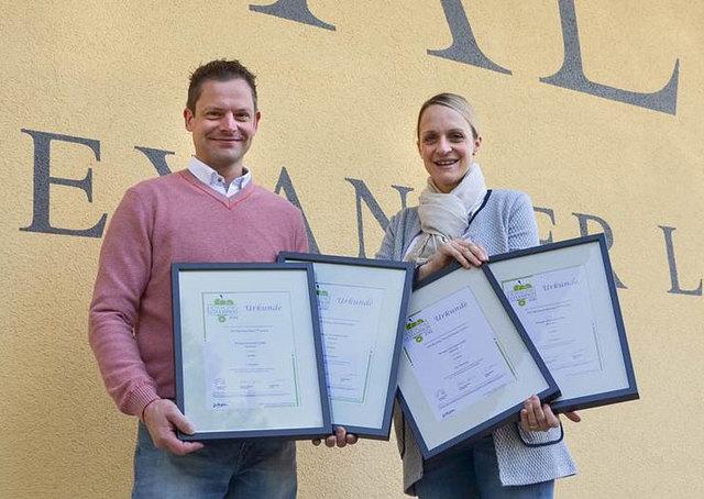Corinna und Alexander Laible freuen sich über das gute Ergebnis beim Riesling Champion 2016.