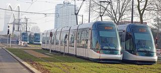 Auf der französischen Rheinseite standen vier Citadis-Straßenbahnen für den Belastungstest zur Verfügung.
