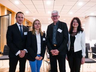 WRO-Geschäftsführer Dominik Fehringer, Referentin Ulrike Fischer, Fred Gresens (Vorsitzender der Architektenkammer Ortenau), Bürgermeisterin Sonja Schuchter (von links)