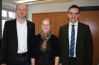 Der Vorgänger Andreas Lippert mit seiner Nachfolgerin Julia Edel als Wirtschaftsförderin und Bürgermeister Erik Weide (von links)