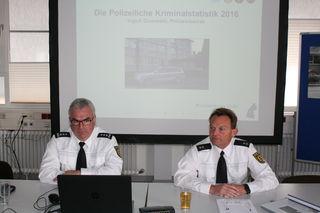 Patrick Schote und Ingolf Grundwald präsentieren die Zahlen der Kriminalstatistik für den Revierbereich Kehl.