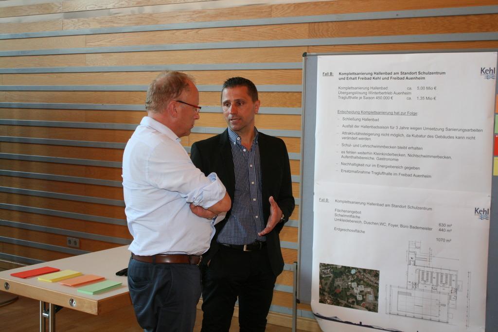 Michael Heitzmann (rechts) vom Gebäudemanagement der Stadt im Gespräch