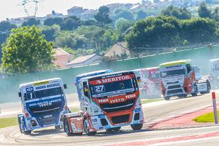 Die Freude über die Doppelführung der Iveco-Trucks beim Rennen im italienischen Misano war leider nur von kurzer Dauer.
