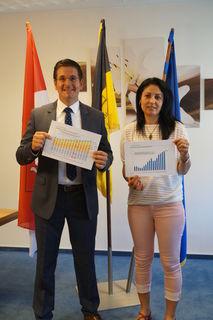 Bürgermeister Stefan Hattenbach und die stellvertretende Kappelrodecker Gemeindekämmerin, Fatma Demir, freuen sich über die Früchte der positiven Gemeindeentwicklung.
