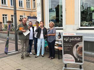 Der Stand des Stadtanzeiger Verlags, direkt am Marktplatz in Kehl.