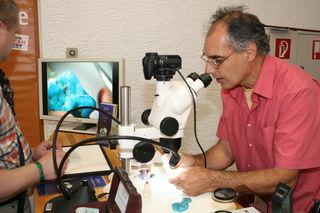 Mineraloge Bernhard Bruder prüft und bestimmt Steine, die die Besucher mitbringen.