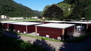 Die Wohncontainer stehen auf der Wiese beim Sportplatz.