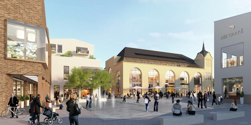Der aktuellste Entwurf für Fassaden, alte Stadthalle und den Platz in dem Ensemble der Einkaufsgalerie