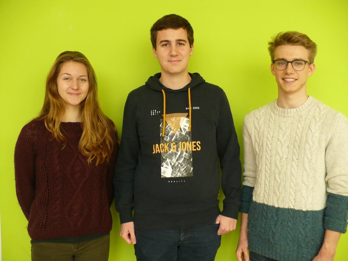 Schüler aus dem Arbeitskreis: Leonie Zapf, Maximilian Schmitt, Luca Hessler (v. l.)