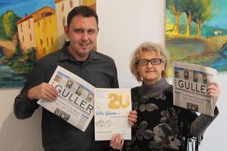 Der Anzeigenverkauf Kehl mit Thorsten Joachim und Brunhilde Lenz (Leiterin Team Nord) ist der Ansicht, man sollte die Feste feiern, wie sie fallen. 20 Jahre Guller ist wahrlich ein Grund für eine große Feier.