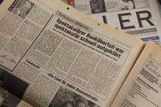 Die Stadtanzeiger-Schlagzeile 1997 zu Banküberfall und Verhaftung der Täter. Foto:rek