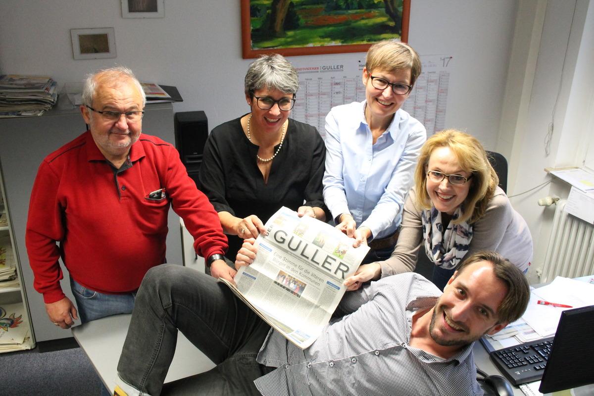 Bei Verkaufsleiterin Heike Roll und dem Verkaufsteam Mitte dreht sich im Guller – und natürlich auch im Stadtanzeiger – alles um die Anzeigenkunden: Eduard Manz (v. l.), Heike Roll, Maritta Bönte-Böhm, Claudia Fritsch und Alexander Stenzel.