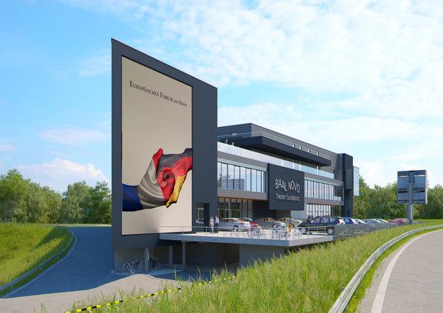 """Als """"architektonischen Blickfang in exponierter Lage"""" bewertet Landrat frank Scherer das von Jürgen Grossmann entworfene Europäische Forum am Rhein."""