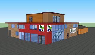 Mensa, Bibliothek und Xenoplex im 3D-Entwurf