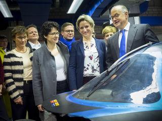 Hochschulrektor Prof. Winfried Lieber (r.) mit der baden-württembergischen Landeswirtschaftsministerin Dr. Nicole Hoffmeister-Kraut (2. v.r.) und weiteren Mitgliedern der CDU-Landtagsfraktion