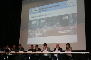 Die Verantwortlichen des Conseil Départementals Bas-Rhin, die Bürgermeister von Rheinau und Gambsheim sowie das Regierungspräsidium Freiburg informierten über den Bauablauf.