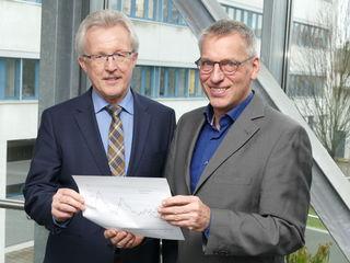 Georg Benz (l.) und Armin Mittelstädt präsentieren zufrieden die Ergebnisse der KOA.