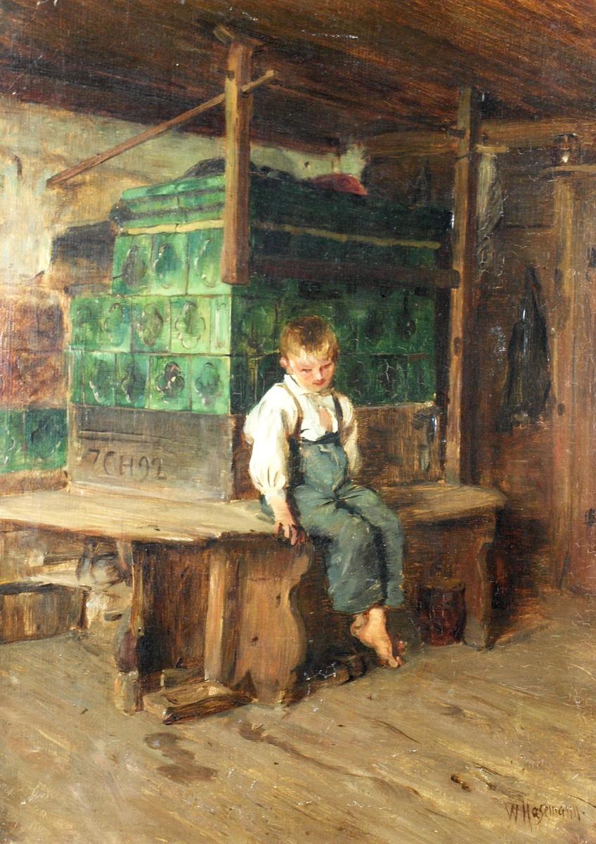 """Ein """"neues"""" Hasemann-Gemälde erweitert die Sammlung des Kunstmuseums: """"Intérieur, Knabe auf der Ofenbank"""""""