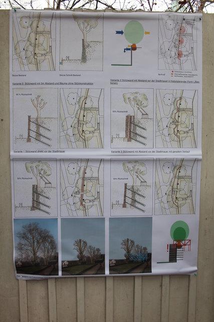 Die Skizzen zu den verschiedenen Varianten der Stützmauer