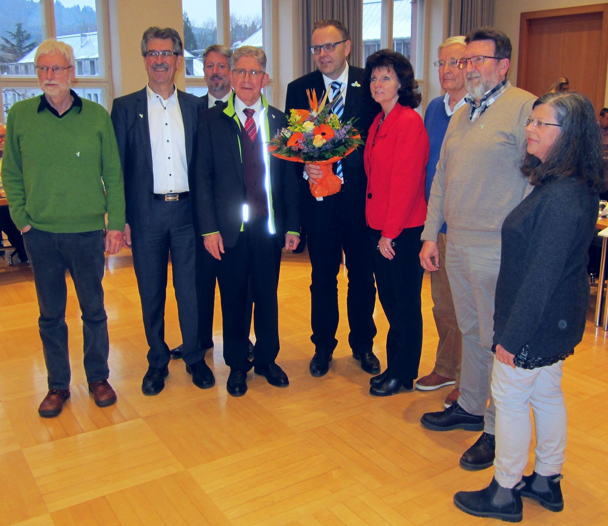 Gruppenbild mit den Fraktionsvorsitzender nach der Wahl im Gemeinderat