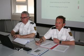 Ingolf Grunwald, Leiter des Polizeireviers Kehl, und sein Stellvertreter Patrick Schote stellen die Zahlen von 2017 vor.