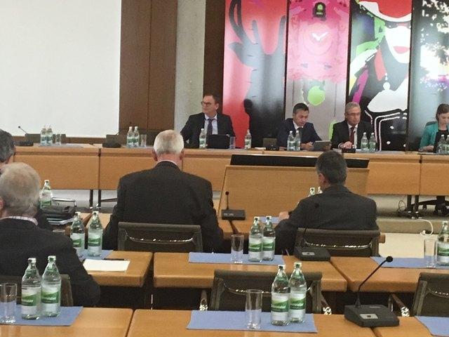 Landrat Frank Scherer (hinten links) und Christian Keller, Geschäftsführer des Ortenau Klinikums (daneben), stellten sich gestern den Positionen der Fraktionen.